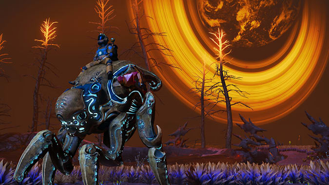 Riding an alien creature in No Man's Sky's Companions update