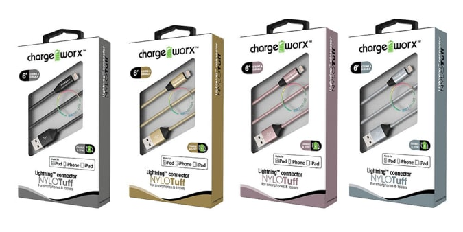 Chargeworx NYLOTuff 6-Foot MFi Lightning Cable (2-Pack)