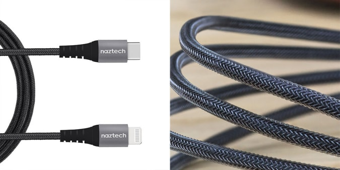 Naztech Braided 4-Foot Fast Charge Lightning to USB-C Cable