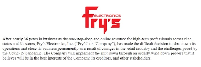 Fry's Electronics statement