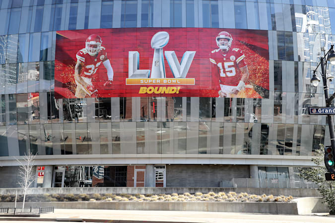 KANSAS CITY, MISSOURI - FEBRUARY 03:  The T-Mobile Center is decorated with a banner in support of the Kansas City Chiefs ahead of Super Bowl LV on February 03, 2021 in Kansas City, Missouri. (Photo by Jamie Squire/Getty Images)