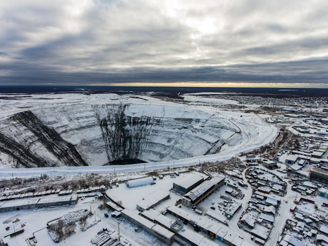MIRNY, RUSSIA - NOVEMBER 1, 2018: A view of a kimberlite pipe of the Mir diamond mine of ALROSA's Mirny Mining and Processing Division (MPD). Alexander Ryumin/TASS (Photo by Alexander RyuminTASS via Getty Images)