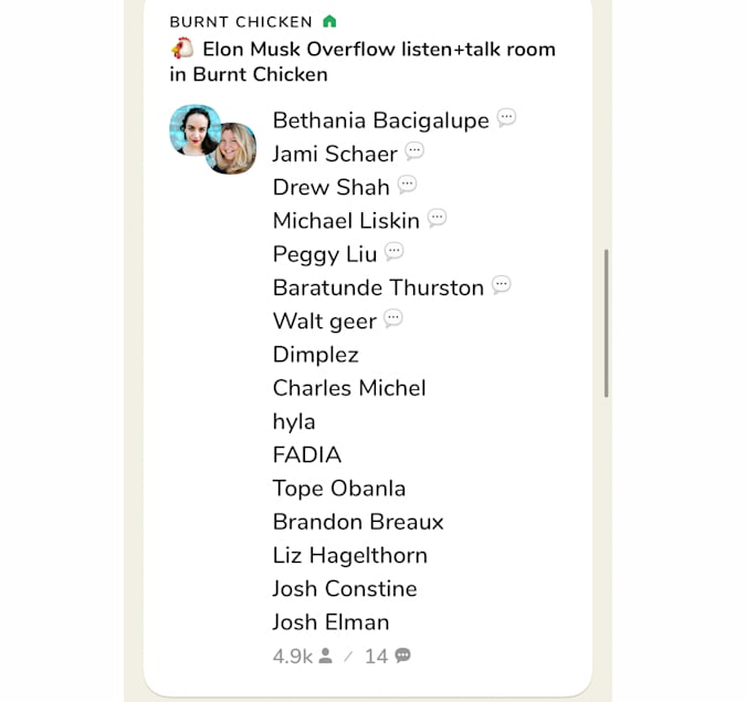 """A screenshot of the app related to when Elon Musk started speaking on Clubhouse, thousands piled into """"overflow"""" rooms to listen in."""