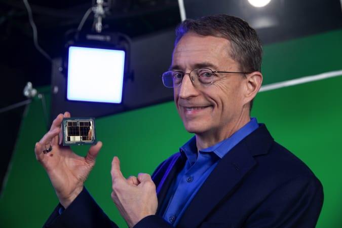 Intel CEO Pat Gelsinger holding