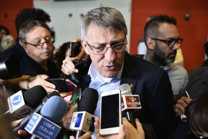ITALY, TURIN, PIEDMONT - 2019/06/11: Maurizio Landini CGIL General Secretary interviewed by journalists during the Fiom-CGIL National Convention for the future of the car and investigation report on FCA. The national conference of the Fiom-CGIL trade union for the future of the car, in which the research on Fca, Cnhi and Magneti Marelli is presented, is one of the most significant conducted in Italy in recent decades, and the largest carried out in the sector. (Photo by Stefano Guidi/LightRocket via Getty Images)