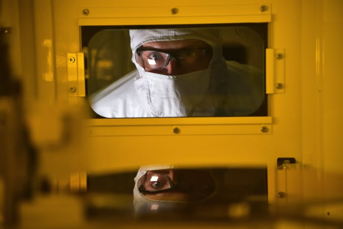 A photo of Intel's chip manufacturing operation inside Fab D1D at the company's Ronler Acres campus in Hillsboro, Oregon.