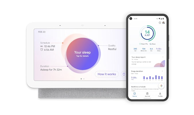 Google Nest Hub 2nd gen showing a sleep report, and a phone showing the Google Fit app version of that report.