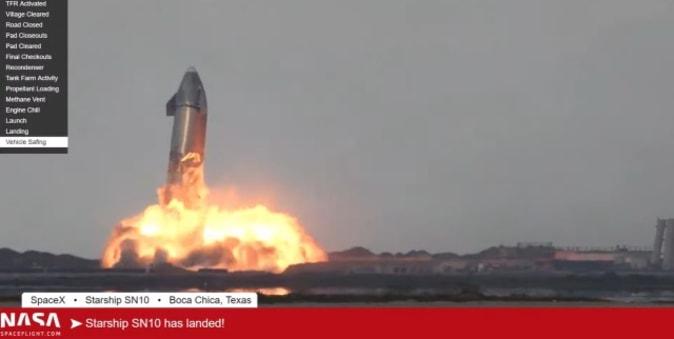 SpaceX SN10 spacecraft