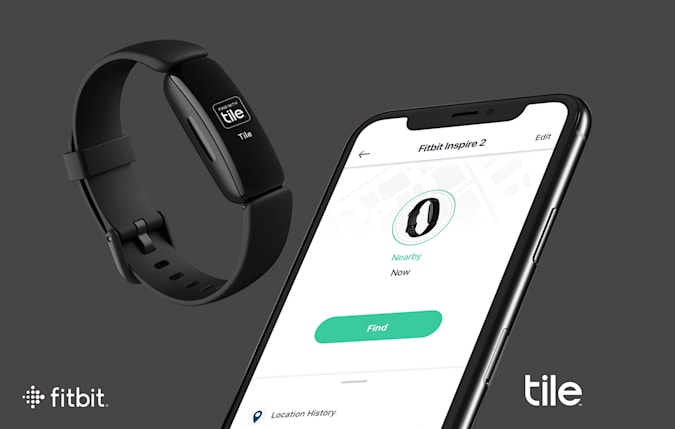 A smartphone with the Tile app and a black Fitbit are shown against a dark grey background.