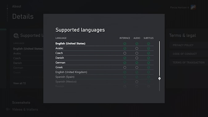 Xbox Store language tags