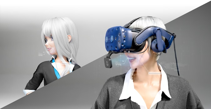 Conceptual image of HTC's Vive Facial Tracker as shown on a rendered individual.
