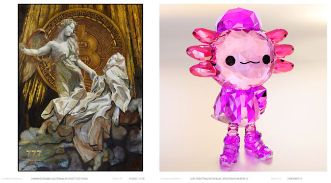 Image of two pieces of crypto art available on NiftyGateway