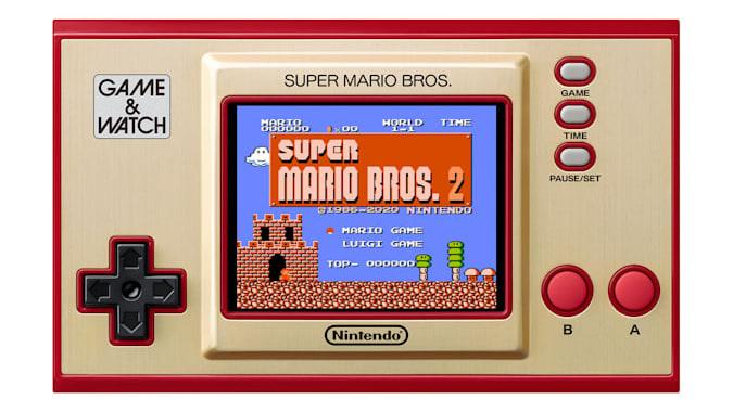 Super Mario Bros.  Game & Watch with 'Super Mario Bros.  2 'on the screen.