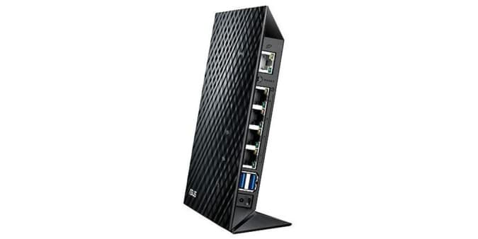 Press image of the ASUS RT-N65R Dual-Band Wireless N750 Gigabit Router.