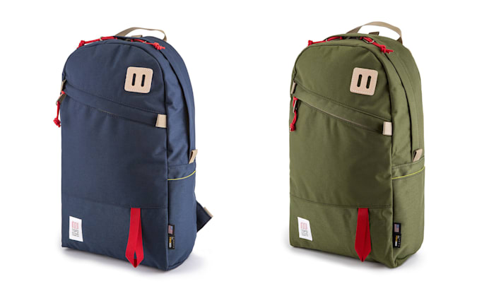 Two color options for the Topo Designs Daypack Original.
