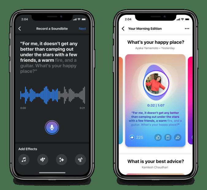 Facebook's Soundbites feature.