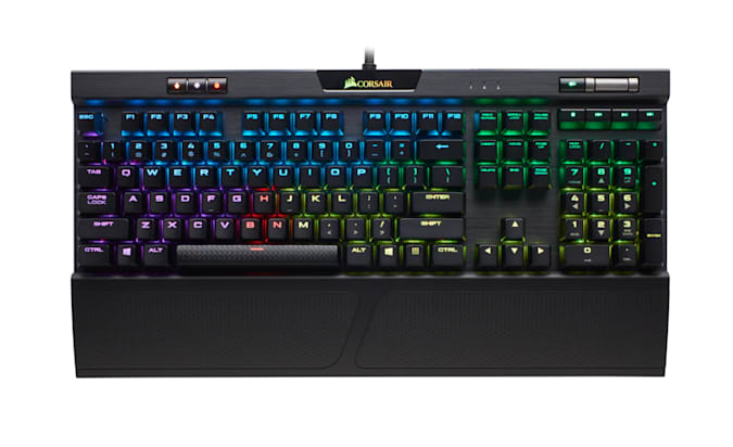 Corsair K70 RGB MK.2 gaming keyboard.