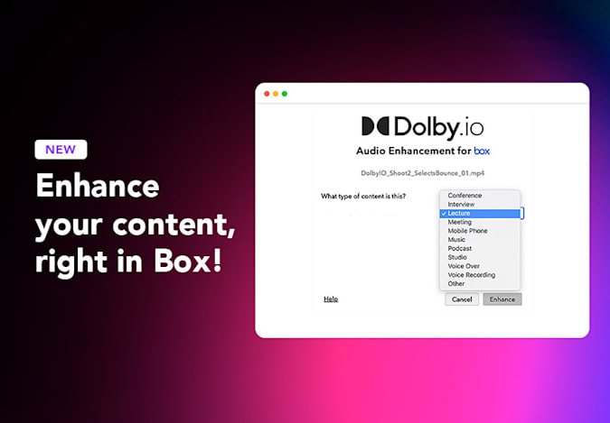 Dolby audio enhancements in Box