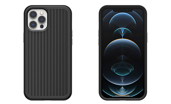 The front and back of a phone which is encased on one of Otterbox's Mobile Gaming Cases.