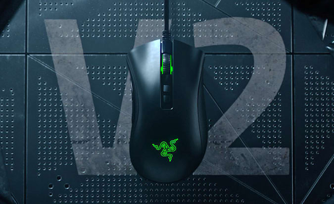 The Razer DeathAdder V2 is featured on the front of the front, but in the factories wearing the top is the word V2.