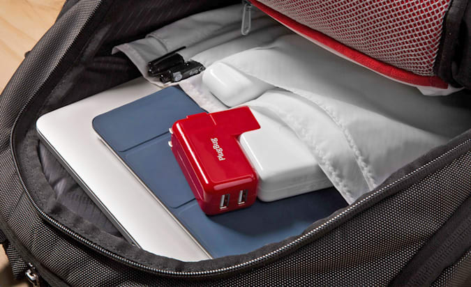 A Twelve South PlugBug Duo packed inside of a backpack.