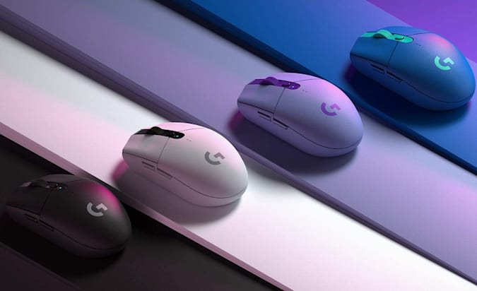 Logitech G305 demonstrated in four colors.