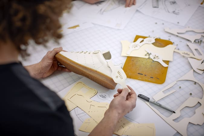 Image of Adidas designers creating the Stan Smith Mylo, made from mushroom leather
