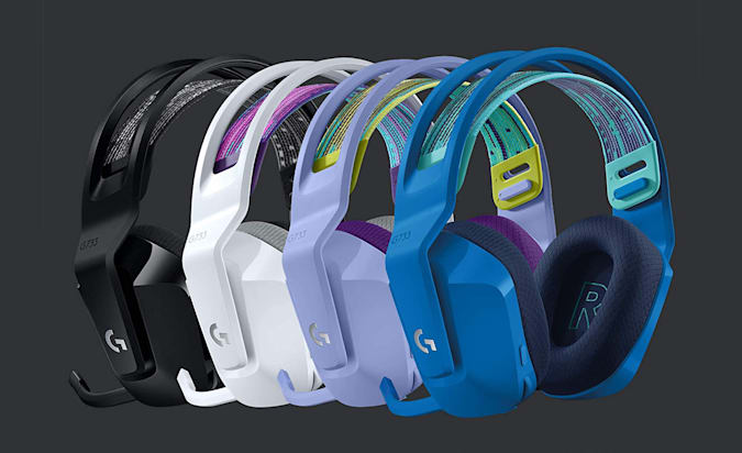 The Logitech G733 gaming headphones displayed in four different color combinations.