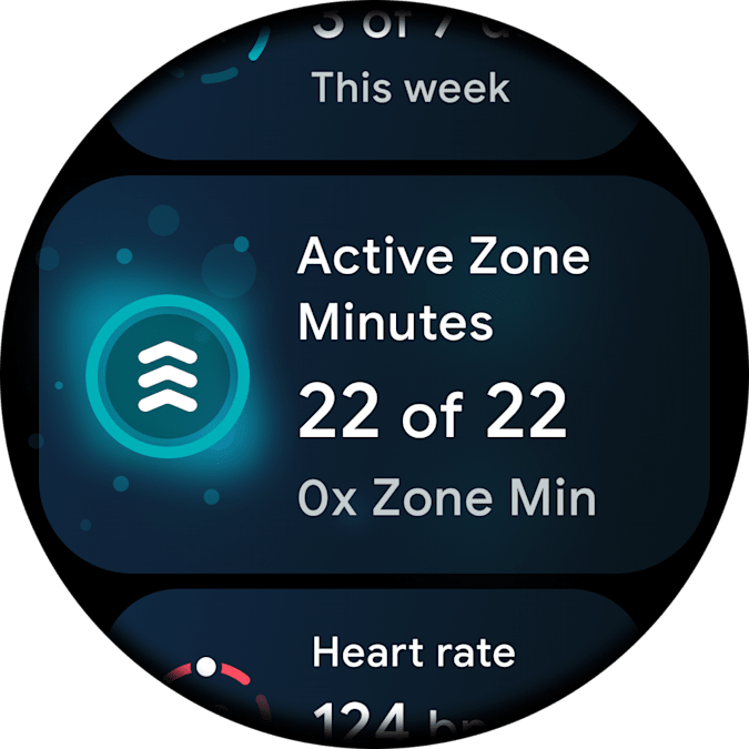 Google Wear OS 2021 Fitbit app. A screenshot of the Fitbit app for the new Wear OS, showing the Active Zone minutes box.