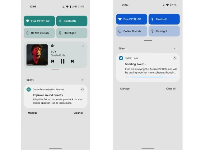Android 12 beta notifications shade