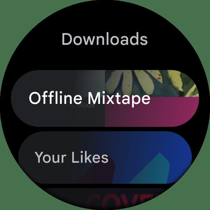 The new Wear OS 2021 YouTube Music app. Screenshot of the YouTube Music app on the new Wear OS, showing an