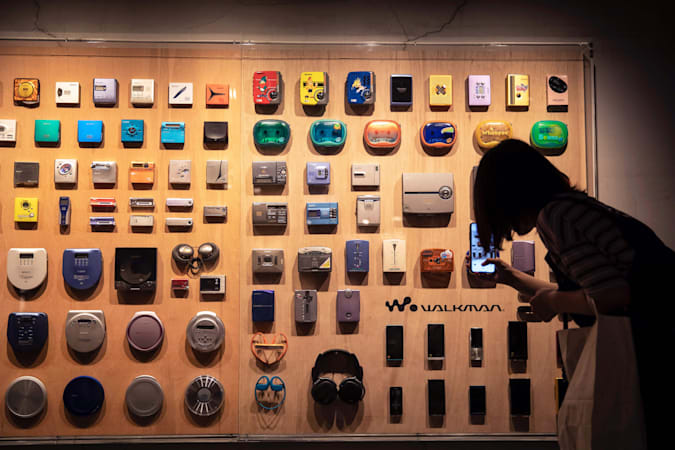 In this picture taken on July 10, 2019, various models of Sony Walkman audio players are displayed at an exhibition marking the 40th anniversary of the iconic device, in Tokyo. - Must-have 80s gadget and one-time icon of Japan electronics cool, Sony's Walkman turned 40 this year and like its now middle-aged fans, is clinging to its youth with high-tech updates. (Photo by Behrouz MEHRI / AFP) / TO GO WITH Japan-music-Sony-lifestyle-game,FOCUS  by Miwa SUZUKI        (Photo credit should read BEHROUZ MEHRI/AFP via Getty Images)