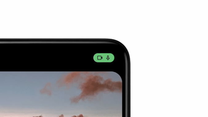 Android 12 camera and microphone usage indicator