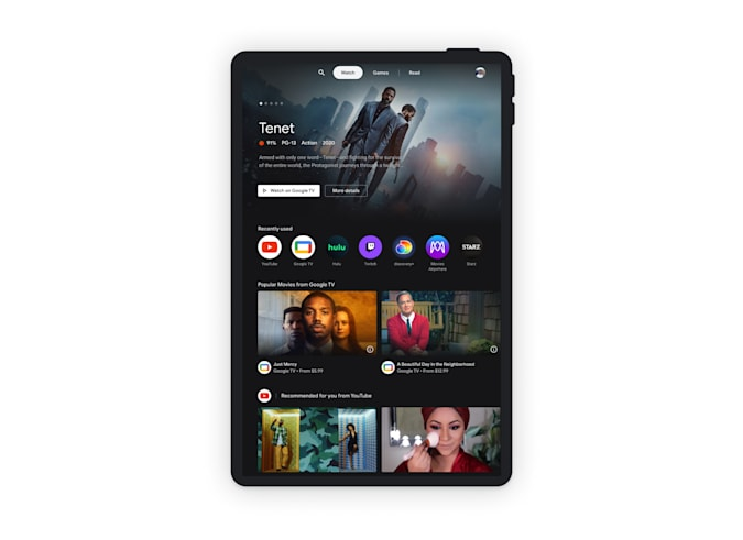 Google Entertainment Space for Android tablets. A tablet in portrait orientation showing the Watch tab in the new Entertainment Space. The top third is taken up by a recommendation for the movie Tenet, and below it is a small row of Recently Used apps. The rest of the screen shows taller rows of shows and the first is labelled