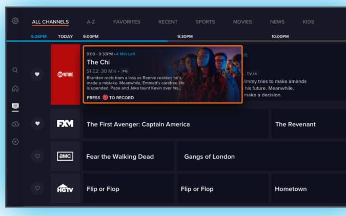 स्लिंग टीवी का नया चैनल इंटरफ़ेस