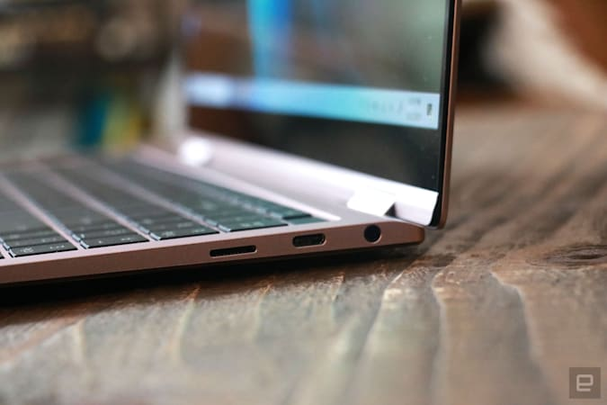 Samsung Galaxy Book Pro 360 review pictures. Close up shot of the ports on the Book Pro 360's right side. There's a USB C port, a headphone jack and a microSD card slot.