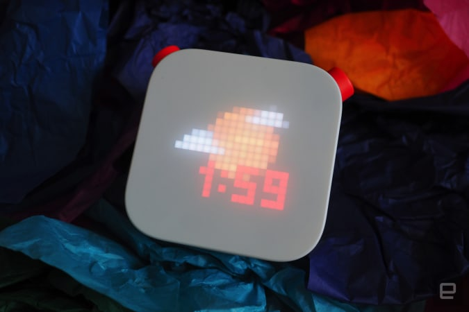 Yoto Player with clock on screen