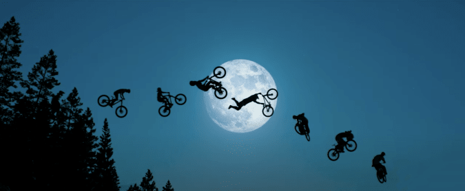 Bikes in front of the moon, ET style