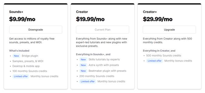 A comparison on Splice's subscription tiers.