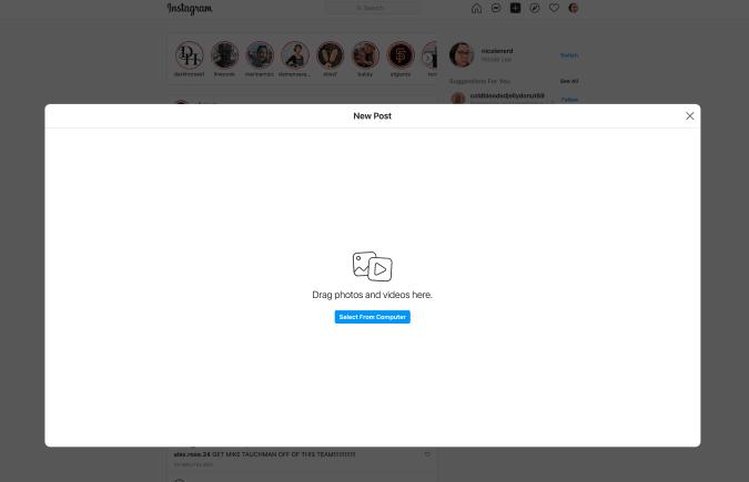 Uploading from Instagram's desktop interface.