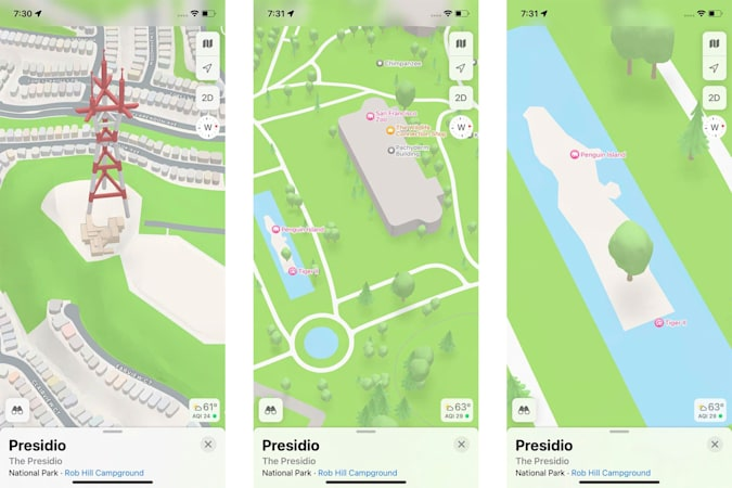 A composite of three screenshots from the Maps app in the iOS 15 beat showing 3D drawings from around San Francisco. Landmarks include the San Francisco Zoo and Penguin Island.