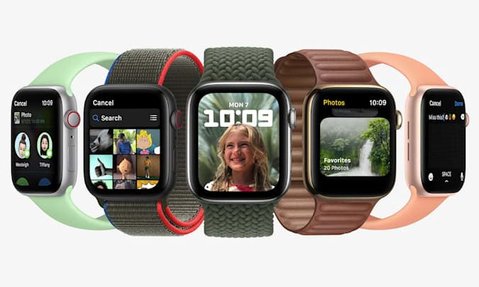 Five Apple Watches showcased various new features of watchOS 8. From left to right, the displayed functions are: information, photo application, portrait dial, photo application and composing message.