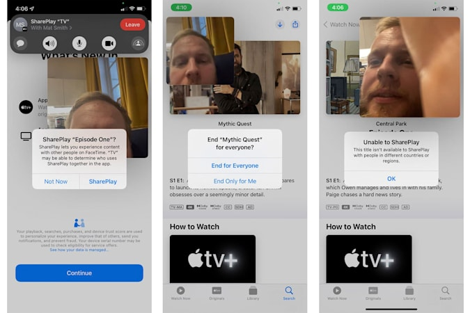 A composite showing three screenshots of FaceTime's SharePlay feature in the iOS 15 beta.
