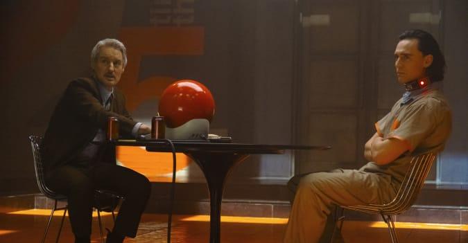 Owen Wilson as Mobius Mobius and Tom Hiddleston as Loki