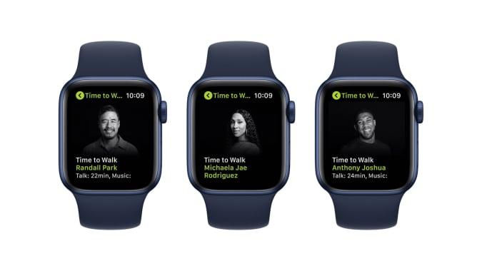 Apple Fitness+ Time To Walk'tan birer bölüm: Her biri sağdan Applees'tan Yürüme Zamanına 2 bölüm içeriyor. , Michaela Jae Rodriguez ve Anthony Joshua.