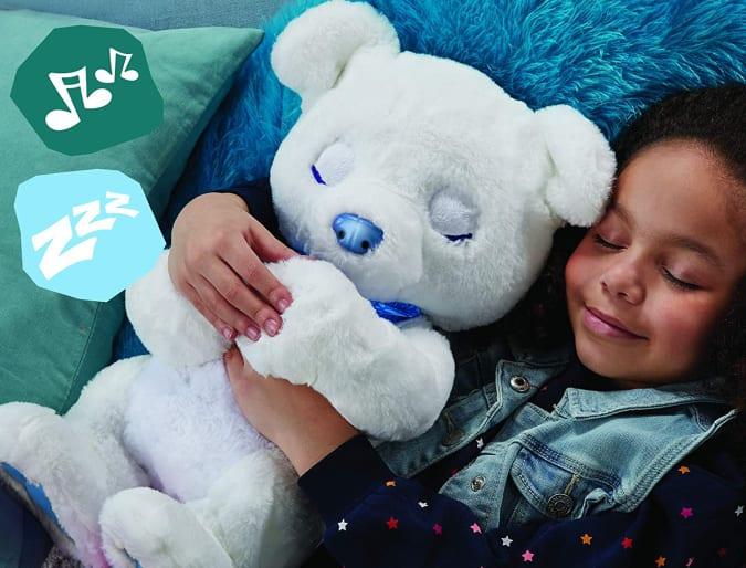 FurReal Polar Bear with little girl sleeping
