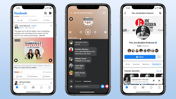 Facebook is launching podcasts.