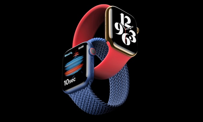 An Apple Watch Series 6 press image with two watches intertwined at the wristband.