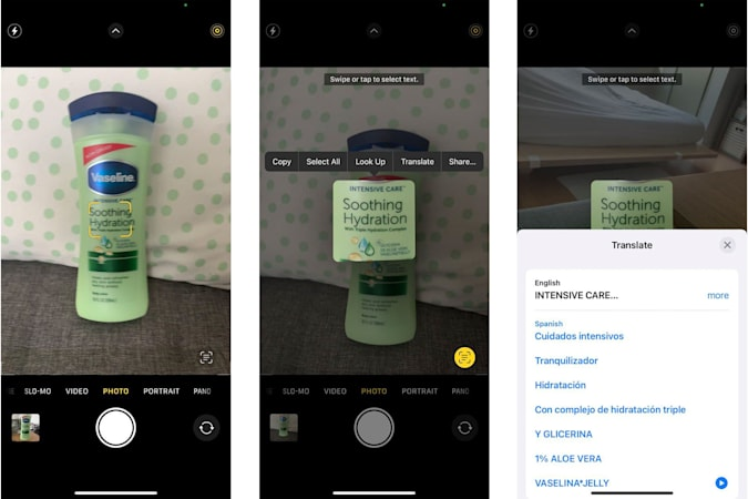 A composite showing three screenshots of Apple's Live Text feature through the viewfinder in the Camera app in the iOS 15 beta. The left screenshot shows a small yellow frame focused on the middle of a bottle of green moisturizer, the middle screenshot shows the middle part of the bottle highlighted with options above it for