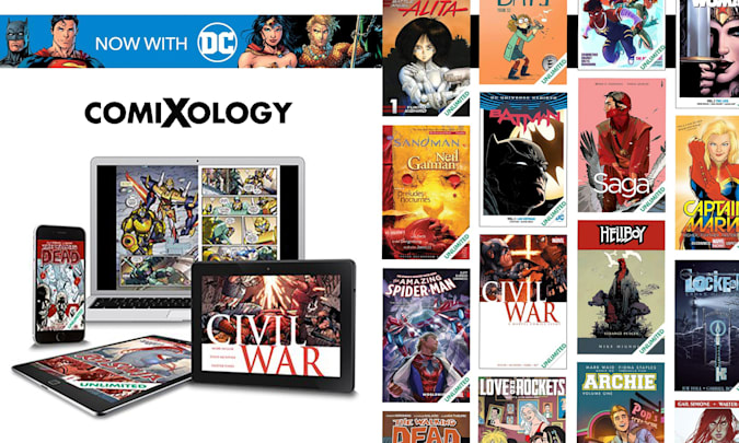 Promotional images for the Comixology service.